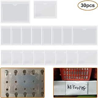30 个自粘名片夹标签夹,顶部开口照片理想卡片夹透明塑料图书馆卡用于整理和保护索引卡(2 种尺寸)