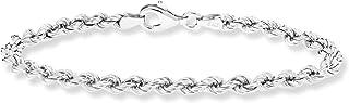 MiaBella 925 纯银意大利 4 毫米经典绳链手链 17.78cm - 20.32cm