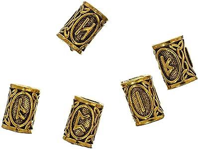 西海岸Paracord Viking Runes 金属珠 - 珠宝制作串珠 - *或胡须配件 - 5-100 包可选 - 银和金色 金色 25 pack 25 X VIKINGBDS-ANTQGLD~WCP_AK