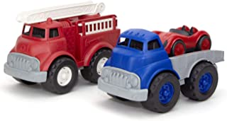 Green Toys 消防车带平板卡车和赛车