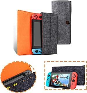任天堂 Switch Lit 便携旅行便携包超薄专业保护毛毡袋适用于 Nintendo Switch Lite 舒适携带包 配有 5 个游戏插槽... 黑色 202042202