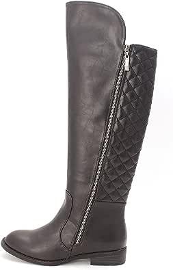 New Directions Womens Gwyneth Almond Toe Knee High Fashion, Black, Size 8.0 US