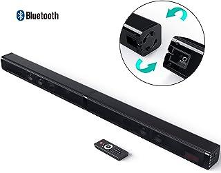 电视条形音箱,Dolamee 蓝牙无线 2.0 声道环绕音频扬声器,双立体声 4 驱动器低音可调节 80 分贝,适用于家庭影院/PC/平板电脑、AUX/RCA/TF卡(远程控制和壁挂式)