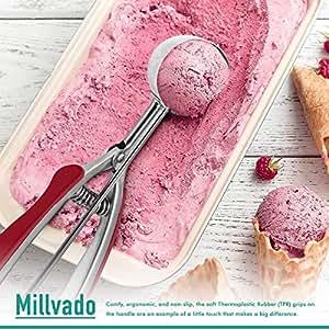 Millvado 不锈钢冰淇淋/饼干勺 | 带红色橡胶手柄,弹簧承载杆设计,适用于甜蜜、瓜、肉球、松饼等 红色 Small- 1-Ounce