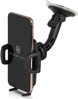 Wicked Chili 通用机动车支架 适用于5.0至6.2英寸手机 华为 Galaxy S9 + S8 + S9 S8 手机 Apple 苹果 iPhone X 8 Plus 7 Plus A5 J5 手机 华为 Honor 荣耀 9 G6支架( 宽56 – 86毫米 , 适用于手机壳和手机壳 )