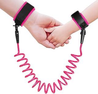 TraderPlus 防丟失手腕鏈*帶步行牽引繩適用于幼兒、兒童、嬰兒和兒童 粉紅色 8.2ft