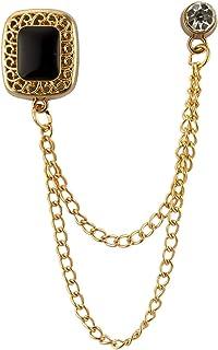 AN KINGPiiN 方形黑色石头 带金色雕刻 挂链 翻领 别针 胸针 西装铆钉 衬衫铆钉 男士配饰