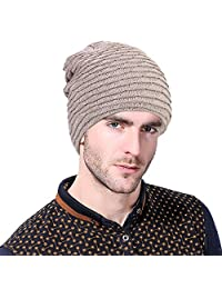 Vbiger Winter Warm Beanie Hat Thick Fleecy Lined Hat Slouchy Beanie Skull Slouch Cap for Men