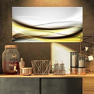 "Designart PT8226-32-16 抽象金波浪抽象数字艺术画布印刷品 32x16"" PT8226-32-16"