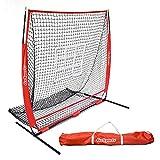 GoSports 5 英尺 x 5 英尺棒球和垒球练习投球和防守网,带蝴蝶结框、携带袋和赠品打击区,适合所有技能水平