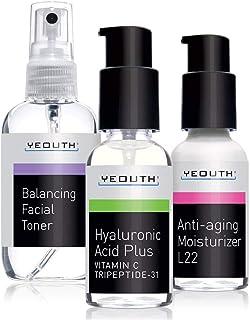 抗衰老皮肤护理3瓶套装,专业级透明质酸精华素,L22面部保湿和平衡面部爽肤水 - 抗衰老精华套装 - 1,美国制造 - 保证