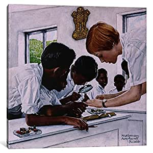 """iCanvasART 1 Piece The Peace Corps in India Canvas Print by Norman Rockwell, 12 x 12""""/1.5"""" Deep"""