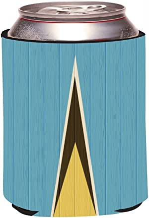 "Rikki Knight""Saint Lucia Flag on Distressed Wood Design"" Beer Can/Soda Drinks Cooler Koozie"