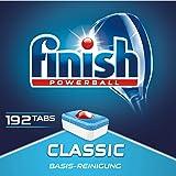 Finish Classic 洗碗机用洗涤块,不含磷酸酯,带强力球,用于餐具基本清洁,3个月用量,192块超值装