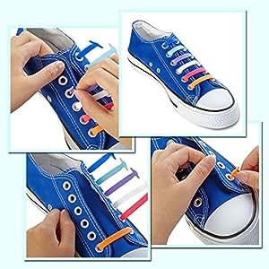 开店!! 2 件装儿童休闲无领带鞋带! KID CITY Tie EASY 弹性一脚蹬运动鞋鞋带跑鞋(1 对黑色 + 1 对白色)
