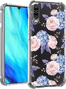 Eouine 华为 P30 手机壳,水晶透明加强边角 TPU 缓冲花朵图案印花设计纤薄透明手机壳防刮减震适用于华为 P30 智能手机Kqn-P30 1