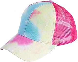 LOKIDVE 女式扎染马尾辫网眼卡车司机帽凌乱高髻棒球帽
