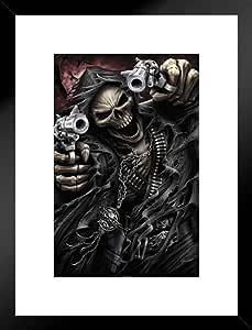 Pyramid America Spiral Assassin Grim Reaper Guns Revolvers 骷髅死亡幻想恐怖自行车 哑光框架海报 20x26 inches 306894