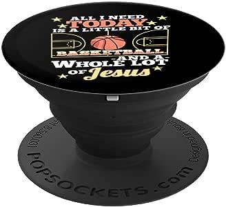 篮球和耶稣 - 有趣的基督教篮球手 - PopSockets 手机和平板电脑抓握支架260027  黑色