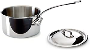 Mauviel Made In France M'Cook 5 Ply Stainless Steel 5210.15 1.3 Quart Saucepan with Lid, Cast Stainless Steel Handle