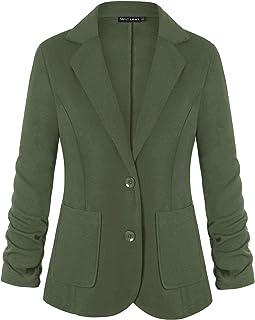 Unifizz 女式休闲办公西装外套口袋纽扣西装外套 3/4 袖