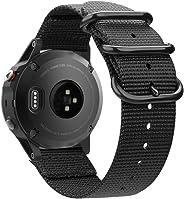 Fintie 适用于 Garmin Fenix 6 5 腕带,柔软编织尼龙运动表带替换腕带,适用于 Garmin 佳明 Fenix 6 Pro 和蓝宝石版本/Fenix 5 / Forerunner 935 945 / Instinct 智能手表, GFWK001US