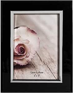 Happy Homewares 现代设计师灰色玻璃 12.7 cm x 17.78 cm 相框镀铬边框 黑色 WIUS-240
