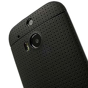 JUJEO 凹点设计弹性 TPU 手机壳适用于 HTC One M8 - 非零售包装 - 黑色