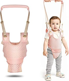 婴儿行走胸背带,宝宝坐立学习辅助器 网眼透气可调节 带可拆卸裆部*手持助手 适合学步儿童 粉红色