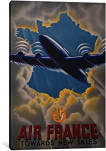 "iCanvasART Air France Towards New Skies Canvas Print by Print Collection, 40 by 26""/0.75"" Deep"