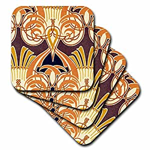 3dRose cst_11217_1 Vintage Orange Design Soft Coasters, (Set of 4)