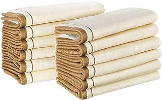 Creative Scents * 纯棉丝绒指尖毛巾套装(12 件装)*柔软 27.94 厘米 x 45.72 厘米小擦手巾,浴室和来宾*超吸水手指巾(奶油色带金色棕色饰边)