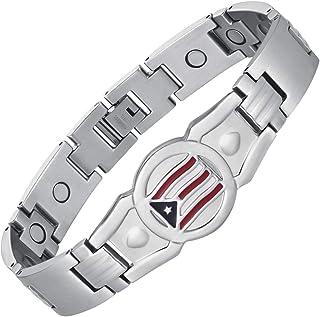 USWEL 男式链接手链 带国旗珐琅 | 钛钢手链带 3500 高斯磁铁 | 宽ID手链男式运动腕带可调节