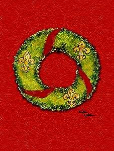 Christmas Wreath Fleur de lis Flag 多色 小号