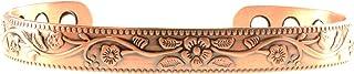 优雅迷人的铜质磁性手镯带独特的老年花设计铜手镯适用于*;磁性铜手镯*