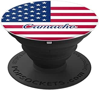 Camacho 美国国旗Merica 个性化姓氏 - PopSockets 手机和平板电脑握架260027  黑色