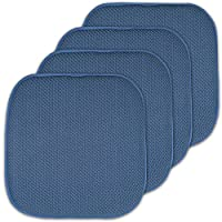 """Sweet Home Collection Memory Foam Honeycomb Nonslip Back Chair/Seat Cushion Pad (2 Pack), 16 x16"""", Linen 蓝色 4 Pack"""