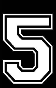 20.32 厘米高运动 T 恤足球棒球单个号码,熨烫,热转印,团队,T 恤(款式 C) 白色 5 C-8-WH-5