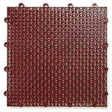 DuraGrid CR48BRIK 交叉罗纹设计,互锁模块化自排多用途*地板垫(48 包),砖红色,件