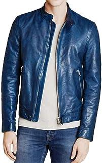 Prastara 男式骑行小羊皮短款皮革拉链夹克/冬季罩衫