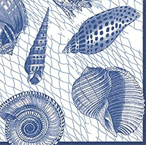 Caspari Napkins Beach Party Clambake Paper Napkins Cocktail Napkins Blue Shells 蓝色 Pack of 40