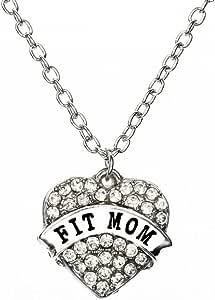 FTA Mom 女士项链:水钻心脏健身妈妈吊坠
