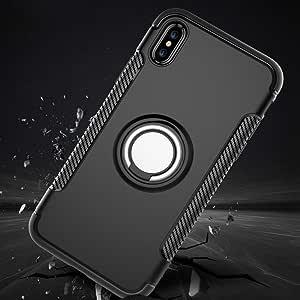 fairzoocanada iphone X 手机壳 iPhone X 手机套壳复合保护套360度旋转环架双层防震磁性汽车支架保护套适用于苹果 iPhone X 25.4cm 玫瑰金色金 黑色