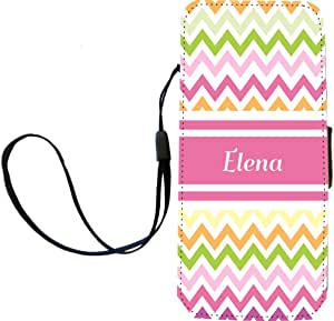 """Rikki Knight """"Elena"""" Pink Chevron Name Flip Wallet iPhoneCase with Magnetic Flap for iPhone 5/5s - """"Elena"""" Pink Chevron Name"""
