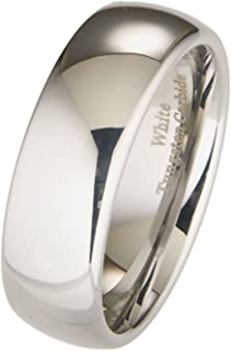 White Tungsten Carbide 8mm Polished Classic Wedding Ring