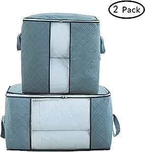 拉链储物袋 - 棉被 毯子 收纳袋 带有防模 透气 材料和透明窗,2件套 灰色 QO001