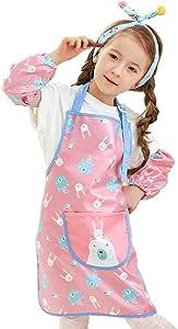 Hosim 儿童绘画围裙,适合女孩和男孩,儿童可调节彩色艺术工艺罩衫,袖子和大口袋,可重复使用的绘画和厨房围裙 粉色兔子 M PAS1-PR-M