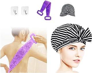 QIXIN 硅胶淋浴刷,长背刷,沐浴露刷,女性淋浴帽,浴巾,长发带,防水帽,可重复使用(4 件套)
