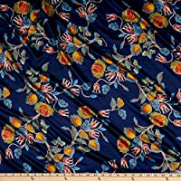 Telio 和服 哑光缎 花卉印花 蓝色 面料