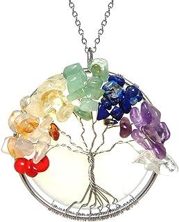 HZMAN 天然玫瑰石英吊坠生命树银色金属绕线圆形脉轮项链